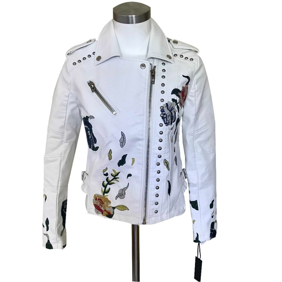 Blank NYC Jackets & Blazers - NWT Blank NYC White Floral Leather Jacket